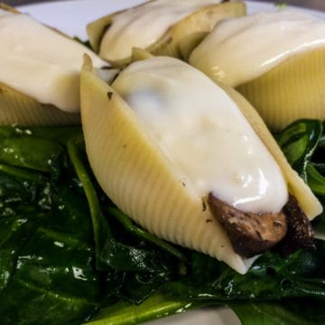 A recipe for rich and creamy vegetarian stuffed shells.
