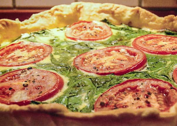 A recipe for spinach mushroom quiche from comfortable food