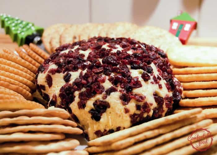 Cheese ball with cheddar and cranberry