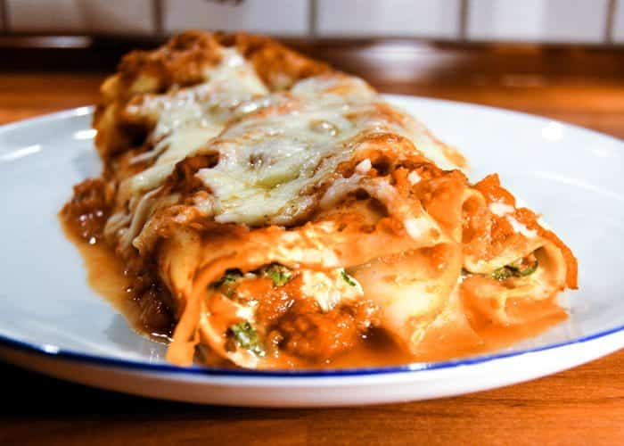 Four cheese and spinach manicotti from comfortable food.