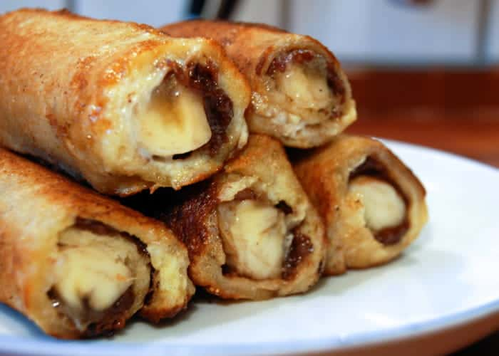 Nutella and banana french toast roll ups from comfortable food.