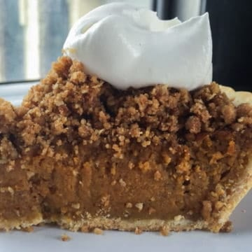 Jack daniels pumpkin pie with oat streusel and maple whiskey whipped cream 1