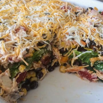 BBQ Ranch Chicken Salad in a cake pan!