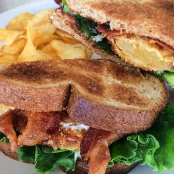 Bacon lettuce and fried green tomato sandwich