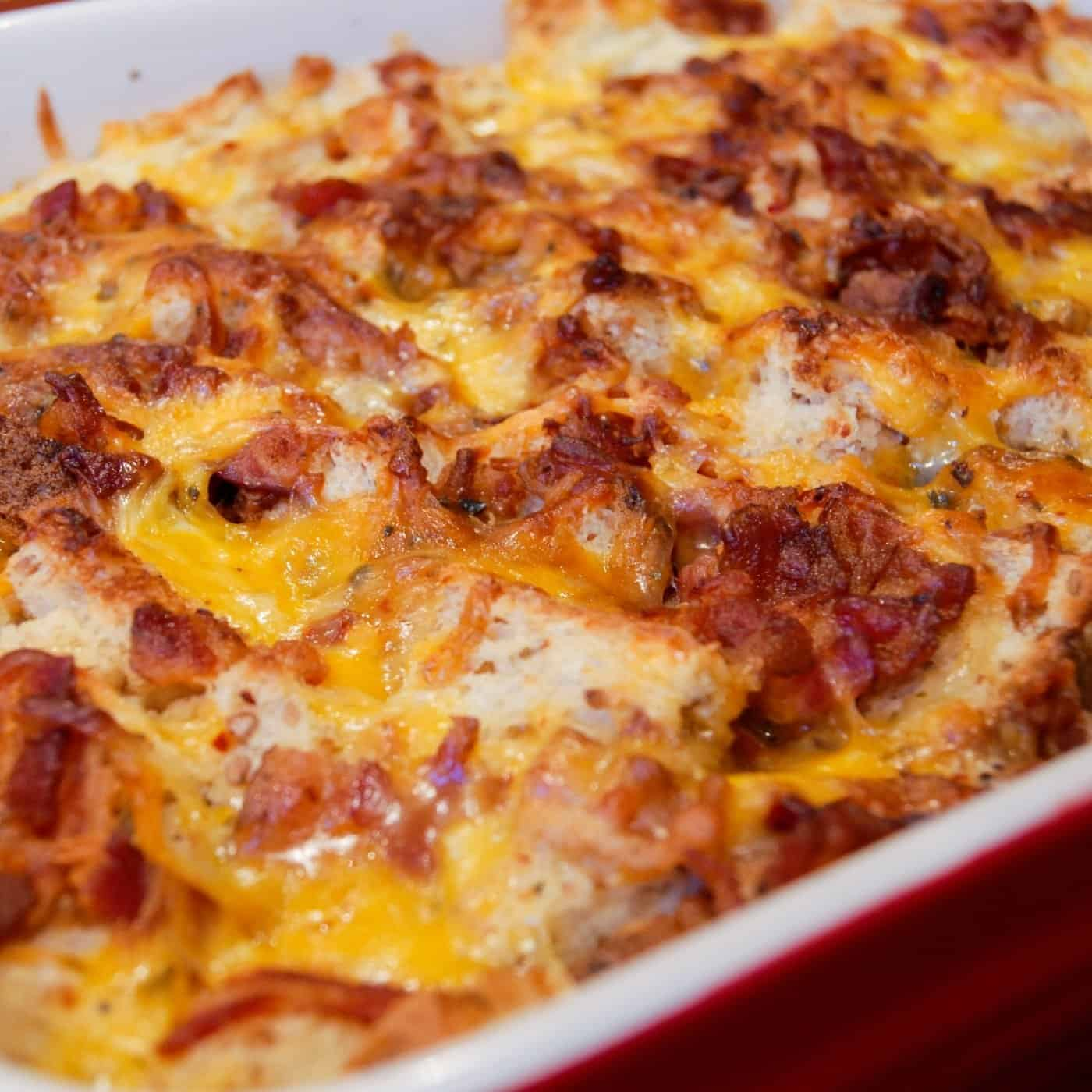 Breakfast casserole with bacon egg and cheese on top
