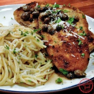 Breaded eggplant served with pasta