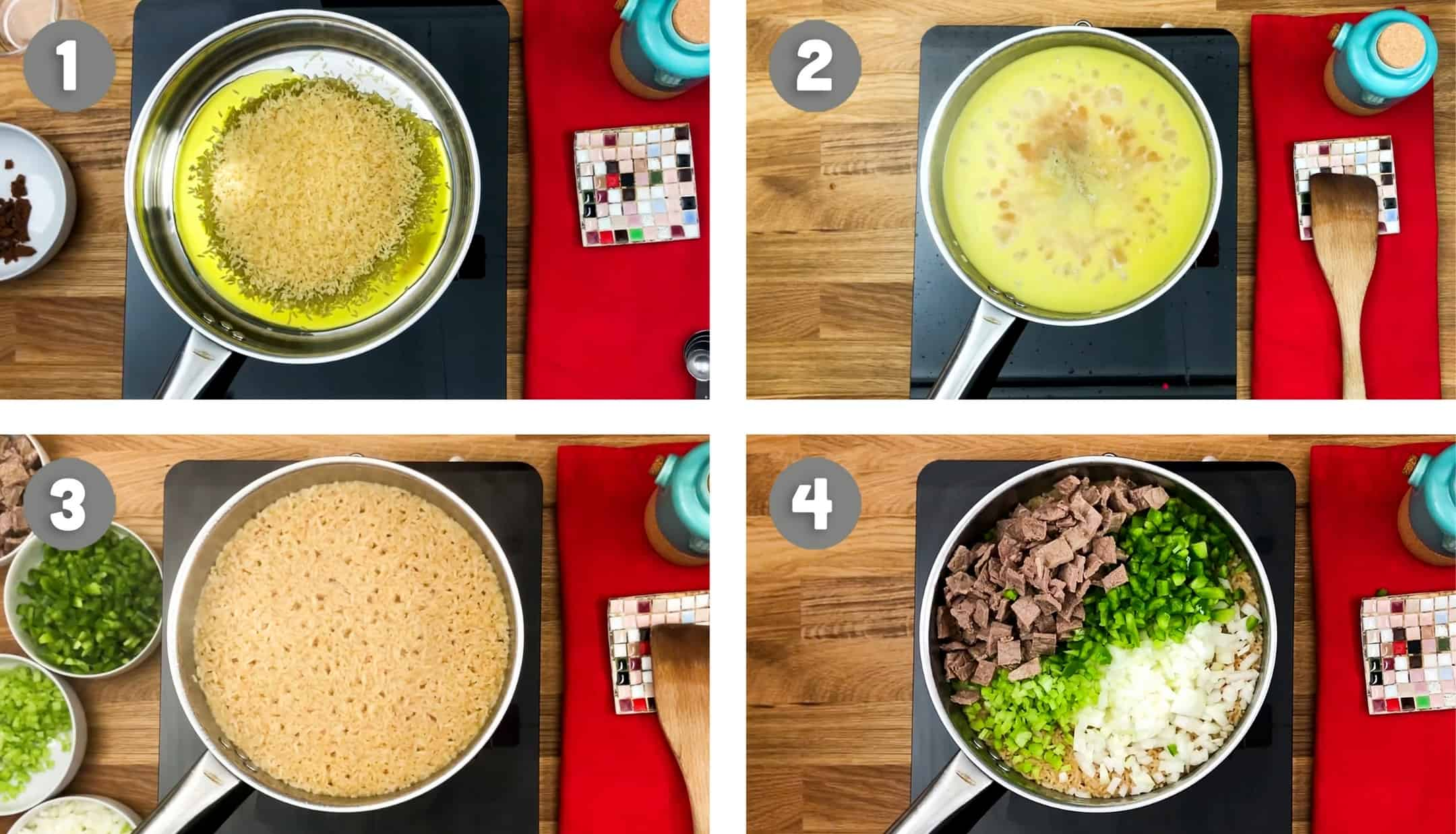 Beef fried rice steps by steps