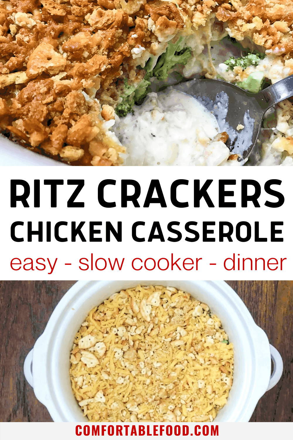 One spoon of chicken casserole with ritz crackers and broccoli and a slow cooker