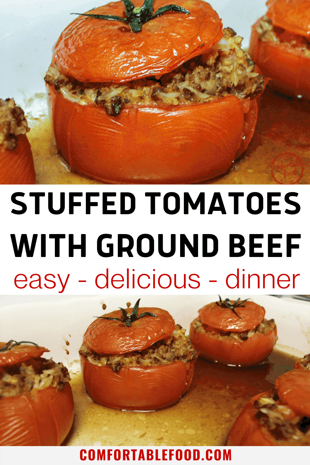 Juicy stuffed tomatoes with ground beef and rice in a pan